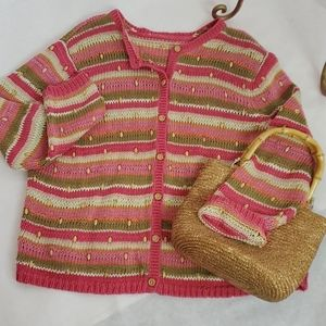 Spring Sweater with Wooden Beading Size M
